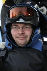 In a ski cart and without a recent shave, early 2008